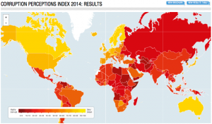 Corruption Perceptions Index 2014. Photo: Transparency International.
