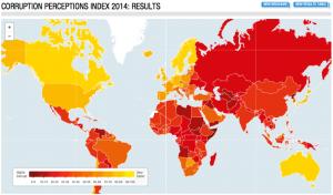 Corruption Perceptions Index 2014. Photo: Transparency International.