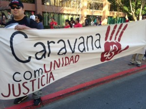 Caravana 43 demonstrated in San Diego on March 23. Photo: Carmelita Salazar-Dodge, Justice in Mexico.