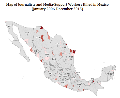 Source: Justice in Mexico Memoria dataset. Map generated by Theresa Firestine.