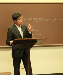 "UNAM Law School student Héctor García García practices oral trial techniques in a ""Train the Trainer"" session."