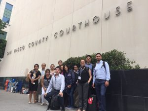 Study trip participants outside the San Diego courthouse.