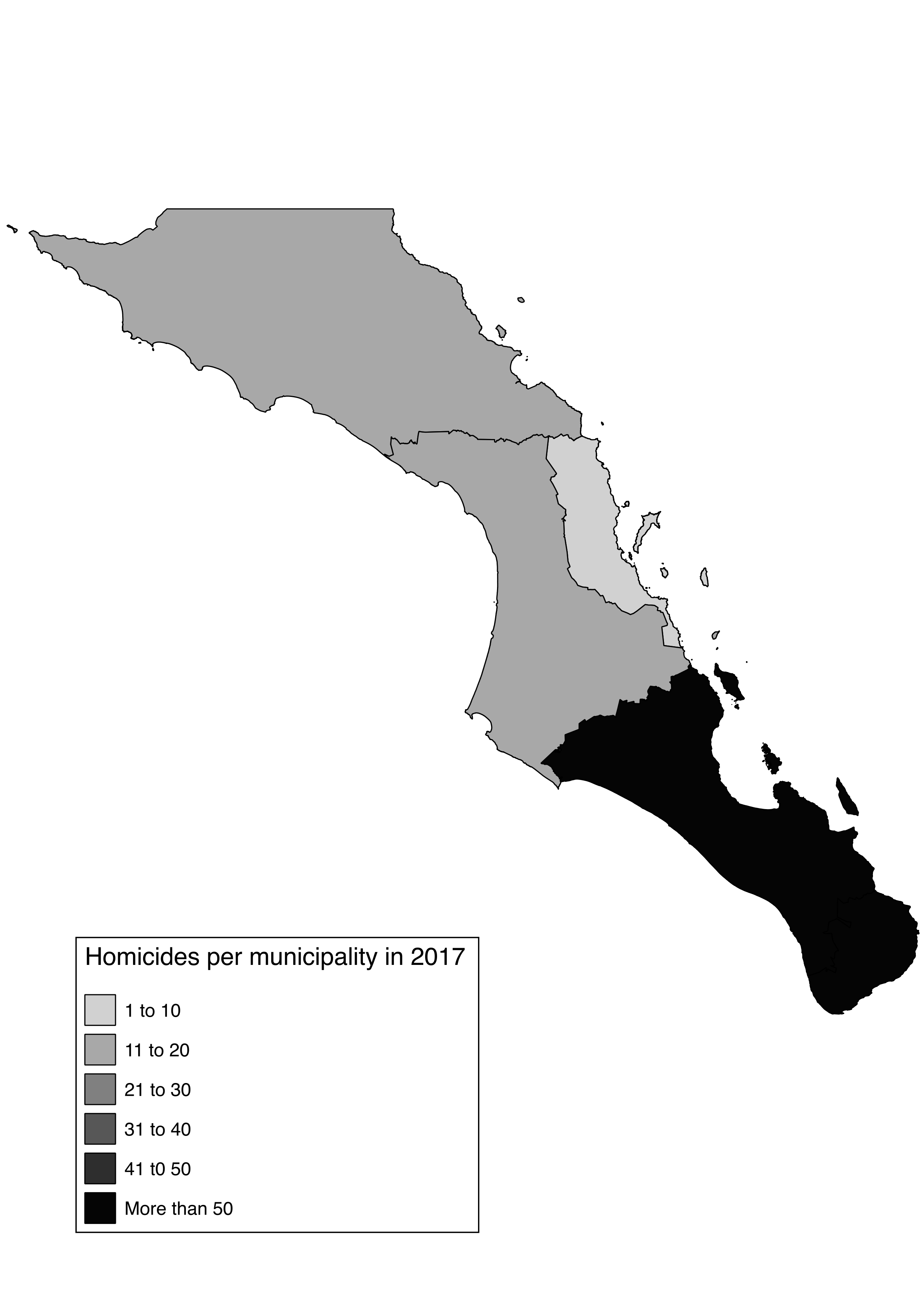 Spatial distribution of homicides in BCS in 2017