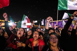 Supporters for Andres Manuel López Obrador. (Guillermo Arias, The New York Times)