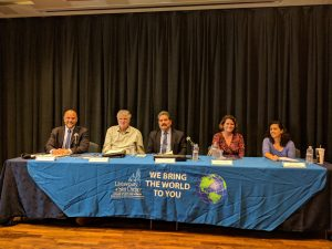 From left to right, moderator Dr. David A. Shirk and election panelists, Amb. Jeffrey Davidow, Dr. Victor Espinoza, Dr. Clare Seelke, and Dr. Emily Edmonds-Poli.