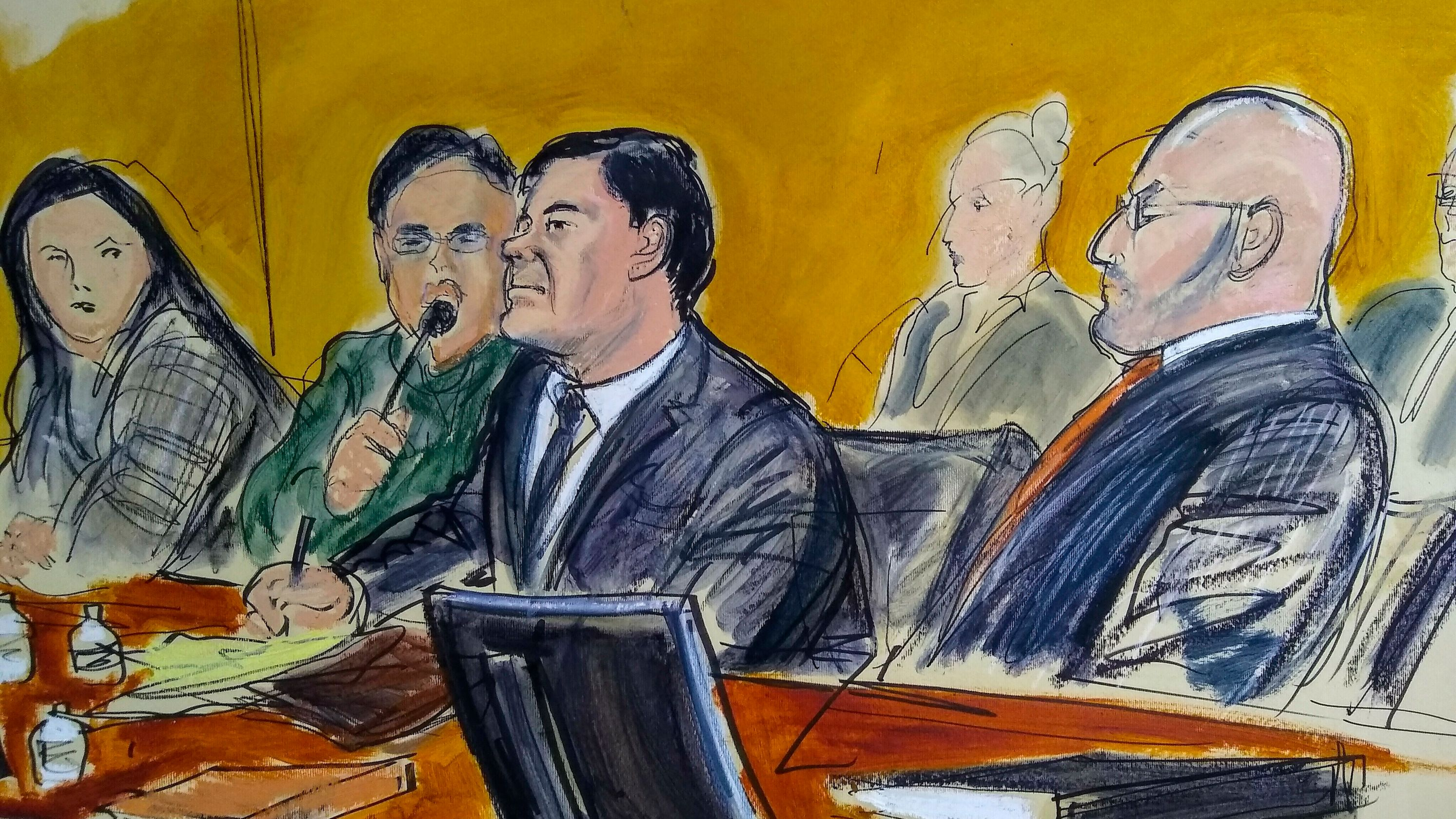 "Trial of Joaquín ""El Chapo"" Guzmán. Image Source: USA Today."