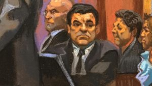 """El Chapo"" at his trial, Courtroom sketch by Christine Cornell"