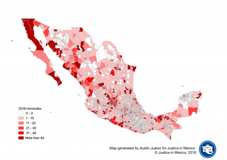Map of homicide victims by municipality in 2018