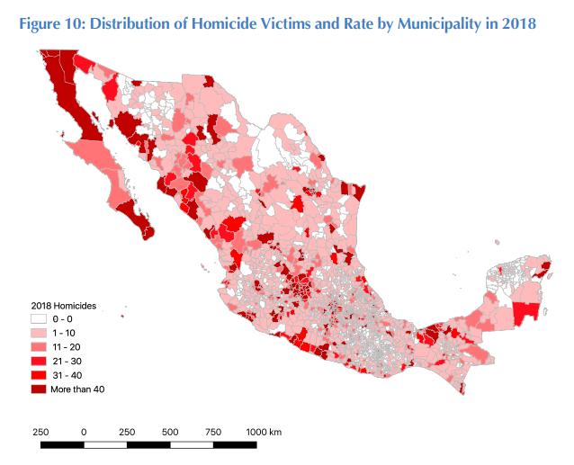 Map of homicides in 2018 by municipality